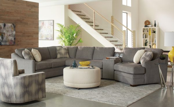 Craftmaster F9 Cuddler Sectional w/ Console-0