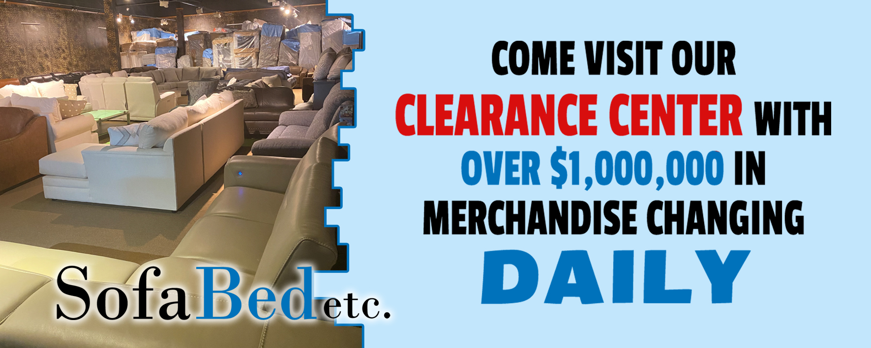 clearance banner for sofa bed